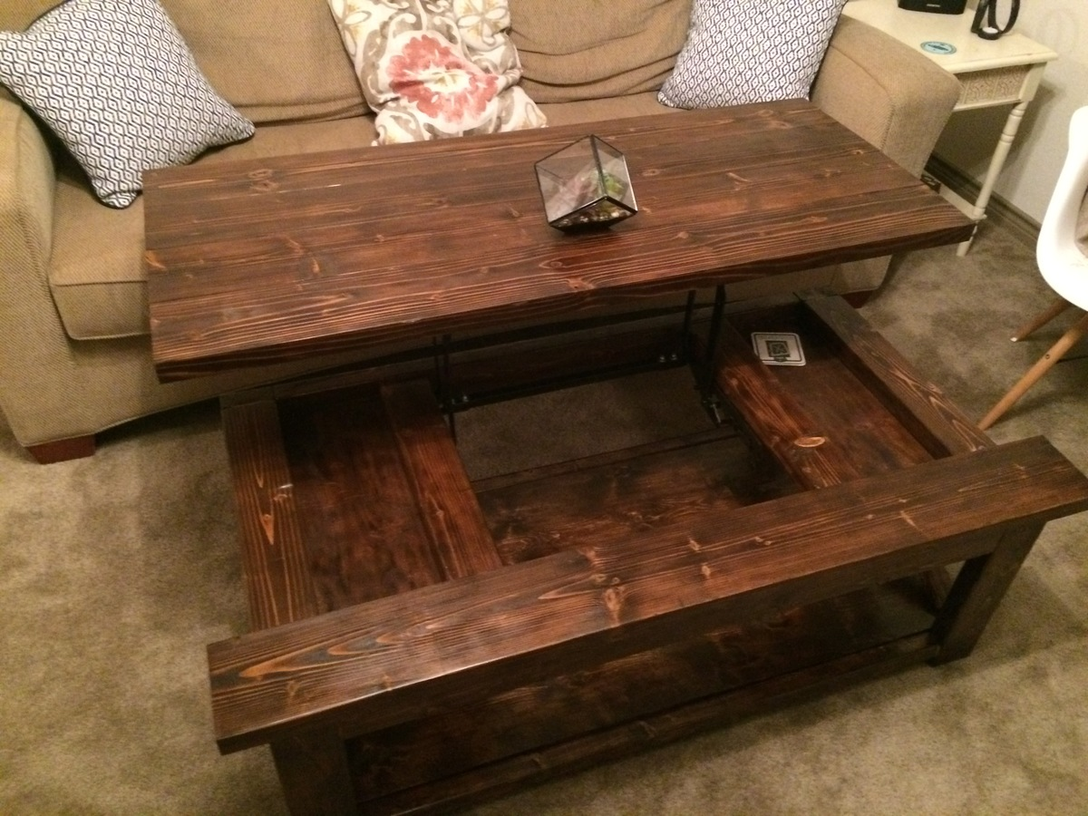 Lift Top Coffee Table Plans Free Ana White Diy Lift Top Coffee Table Rustic X Style