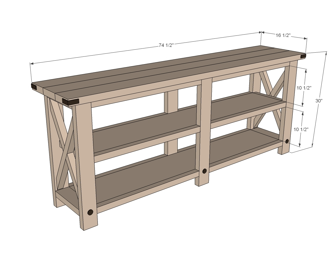Farmhouse Corner Tv Stand Plans Ana White Rustic X Console Diy Projects