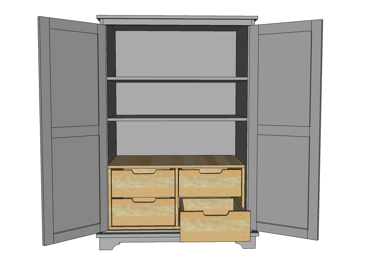 Armoire à Plans Ana White Toy Or Tv Armoire Drawer Insert Diy Projects