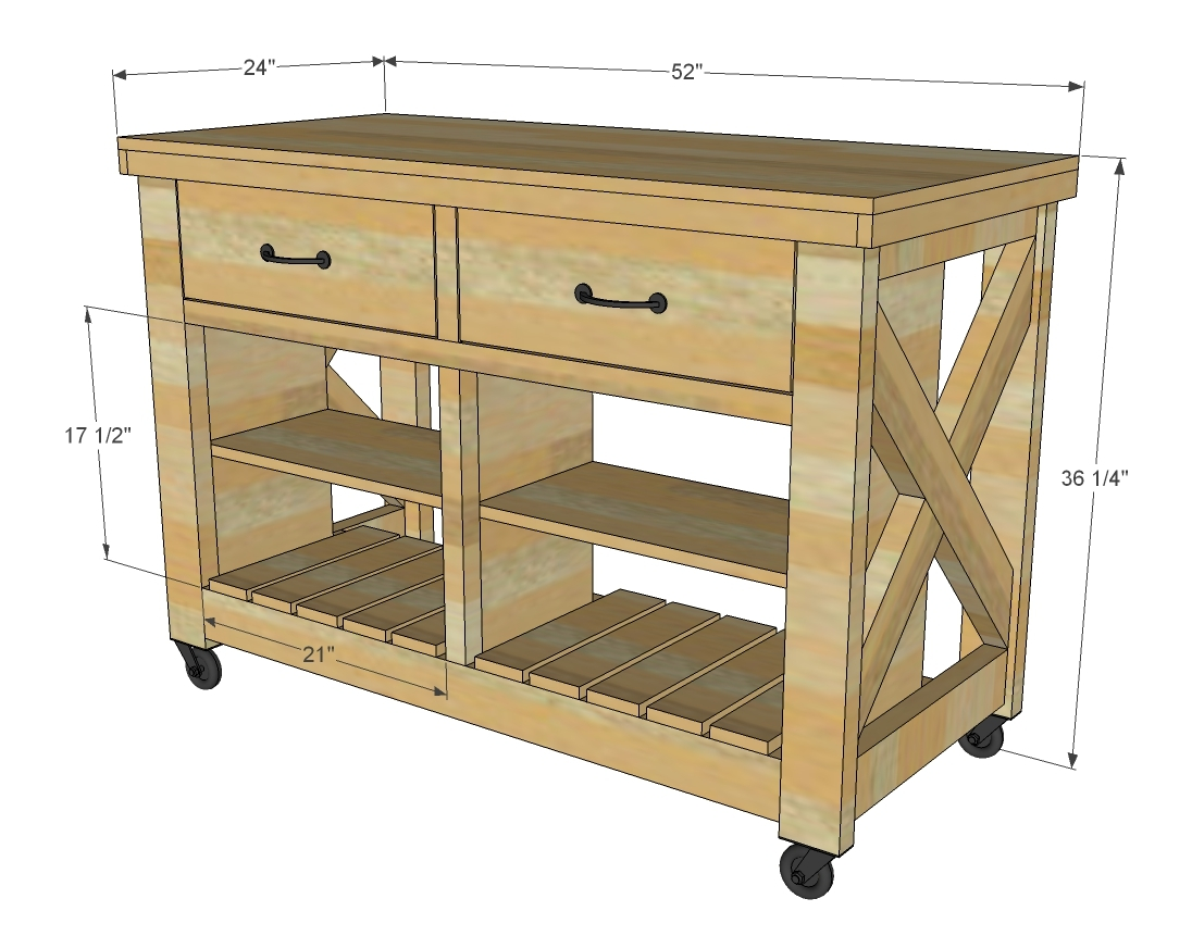 Diy Kitchen Island Design Plans Ana White Rustic X Kitchen Island Double Diy Projects
