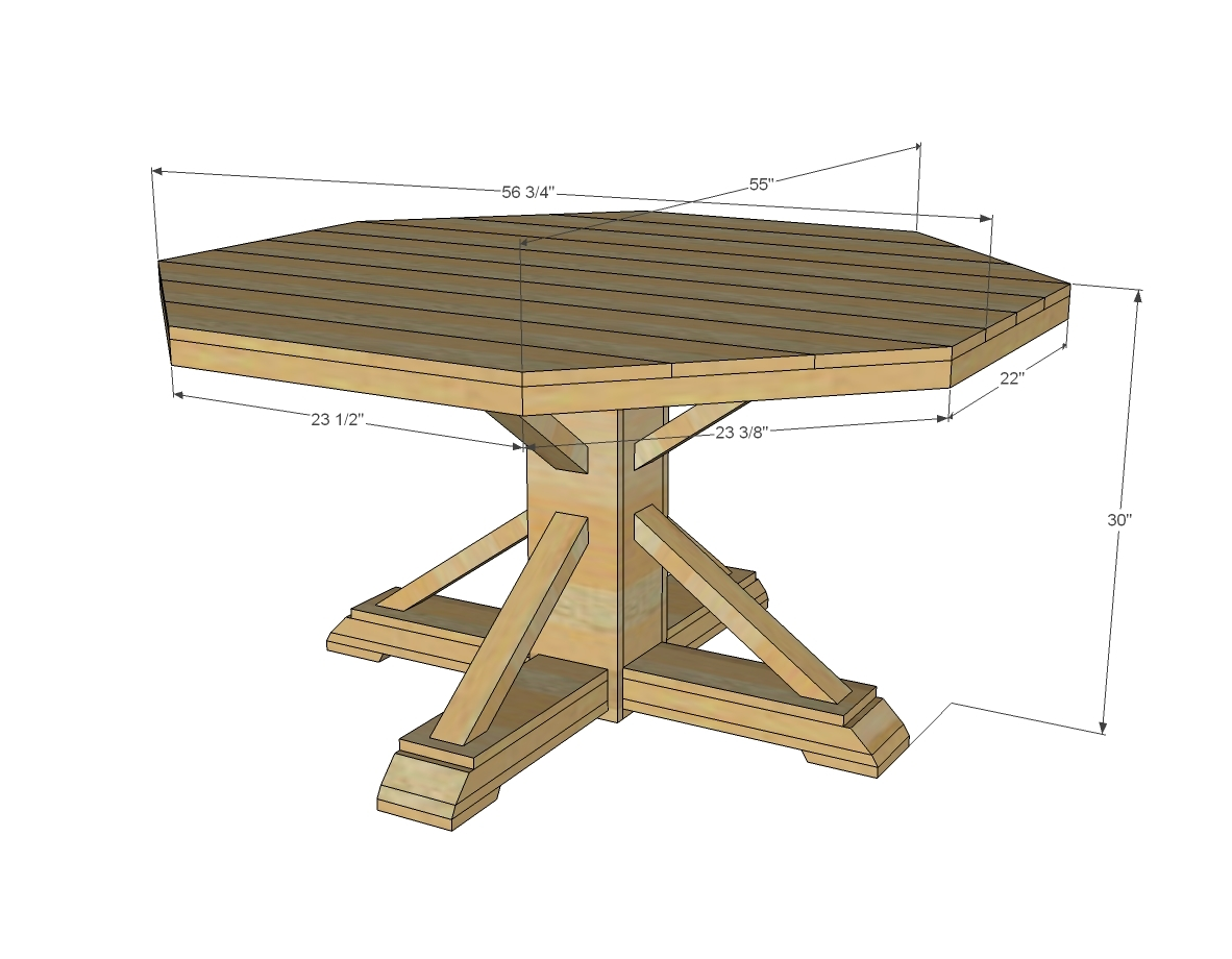Diy Round Dining Table Plans Ana White Benchmark Octagon Table Diy Projects