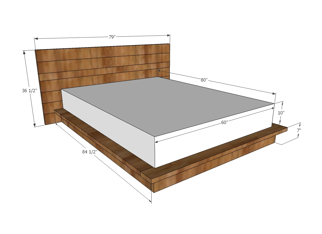 Dimensions Queen Mattress Ana White Rustic Modern 2x6 Platform Bed Diy Projects