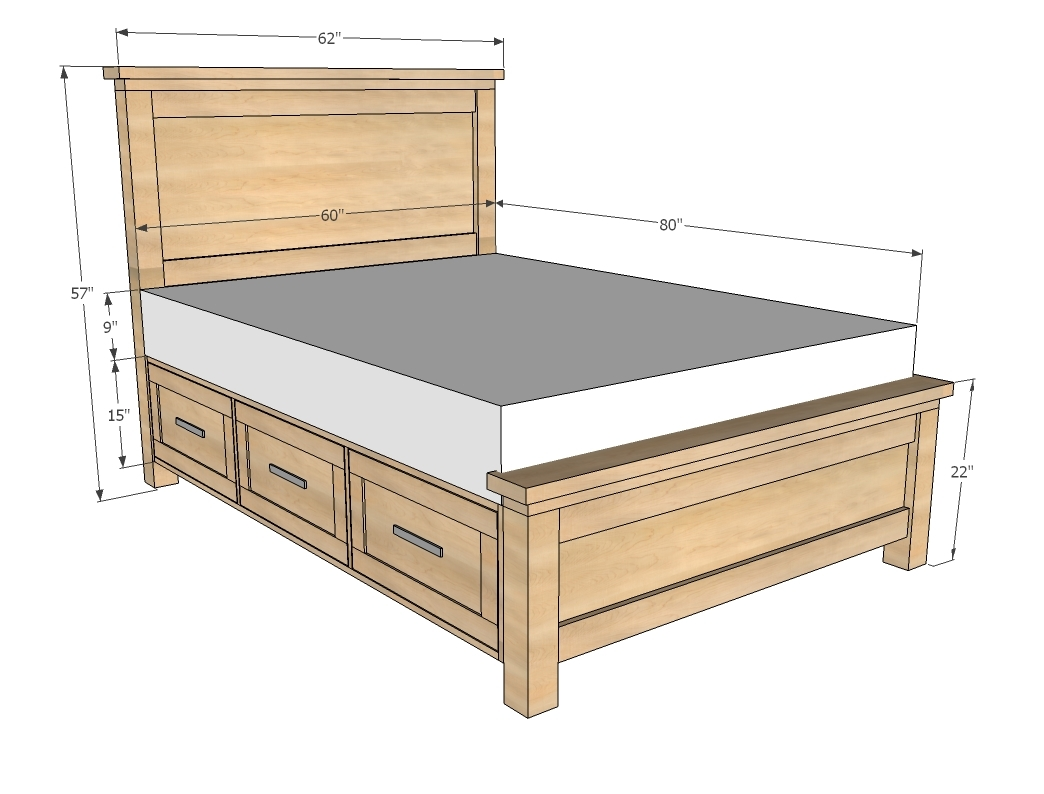 Standard Double Bed Measurements Ana White Farmhouse Storage Bed With Storage Drawers Diy Projects