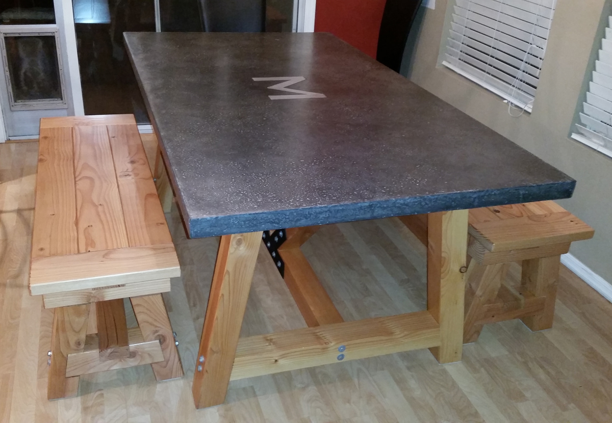Buy Quikrete Countertop Mix Ana White 4x4 Truss Beam Table Concrete Top With Benches