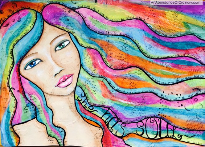 She Has Soul, Mixed Media, Acrylic, Art Journal Lee Scott©