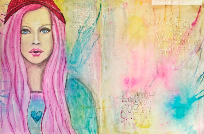 Pink Haired Girl - Mixed Media - Art journal, Water Soluble Crayons, Acrylic, Texture Paste Lee Scott ©