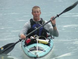 Guide Brad Fidel exploring some alternative transportation in Glacier Island