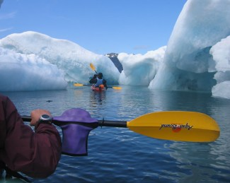 Paddling through the icebergs