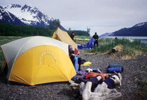 Great camping right in Port Valdez. 2000.