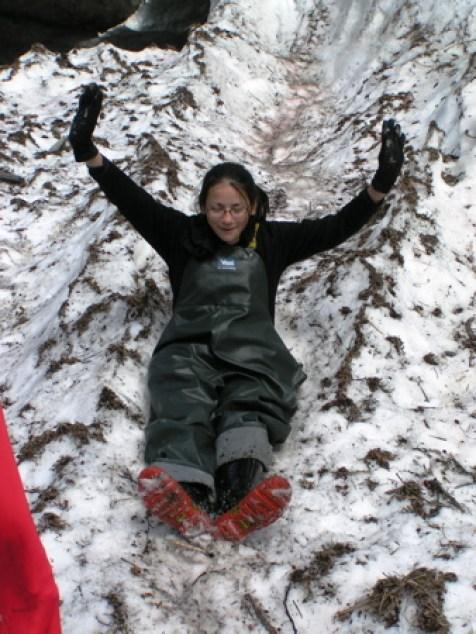Snow chuting Shoup Glacier