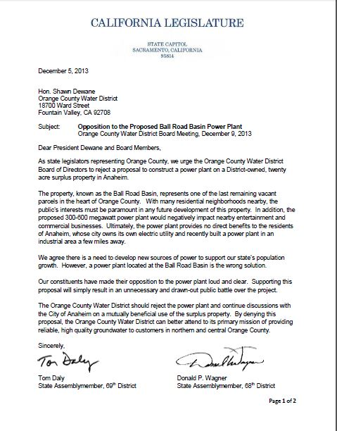 OC Legislative Delegation Opposes Power Plant at Ball Road Basin - delegation letter