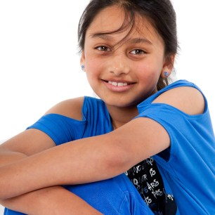 Portrait of young indian girl dressed in blue professional studio photography by Anais Chaine in Auckland Ponsonby New Zealand