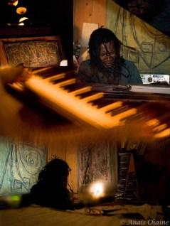Montage with piano and portrait of Tchangodei jazzman Lyon la croix rousse au bec de jazz France