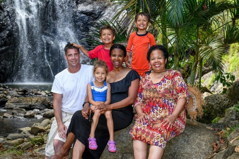 Family portrait with grandma in Fiji tropical rainforest