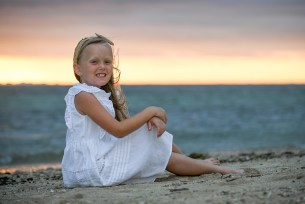 Portrait of a girl at the beach in Fiji