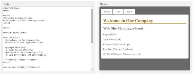 Contoh kode HTML dan hasilnya. Dari w3schools.com