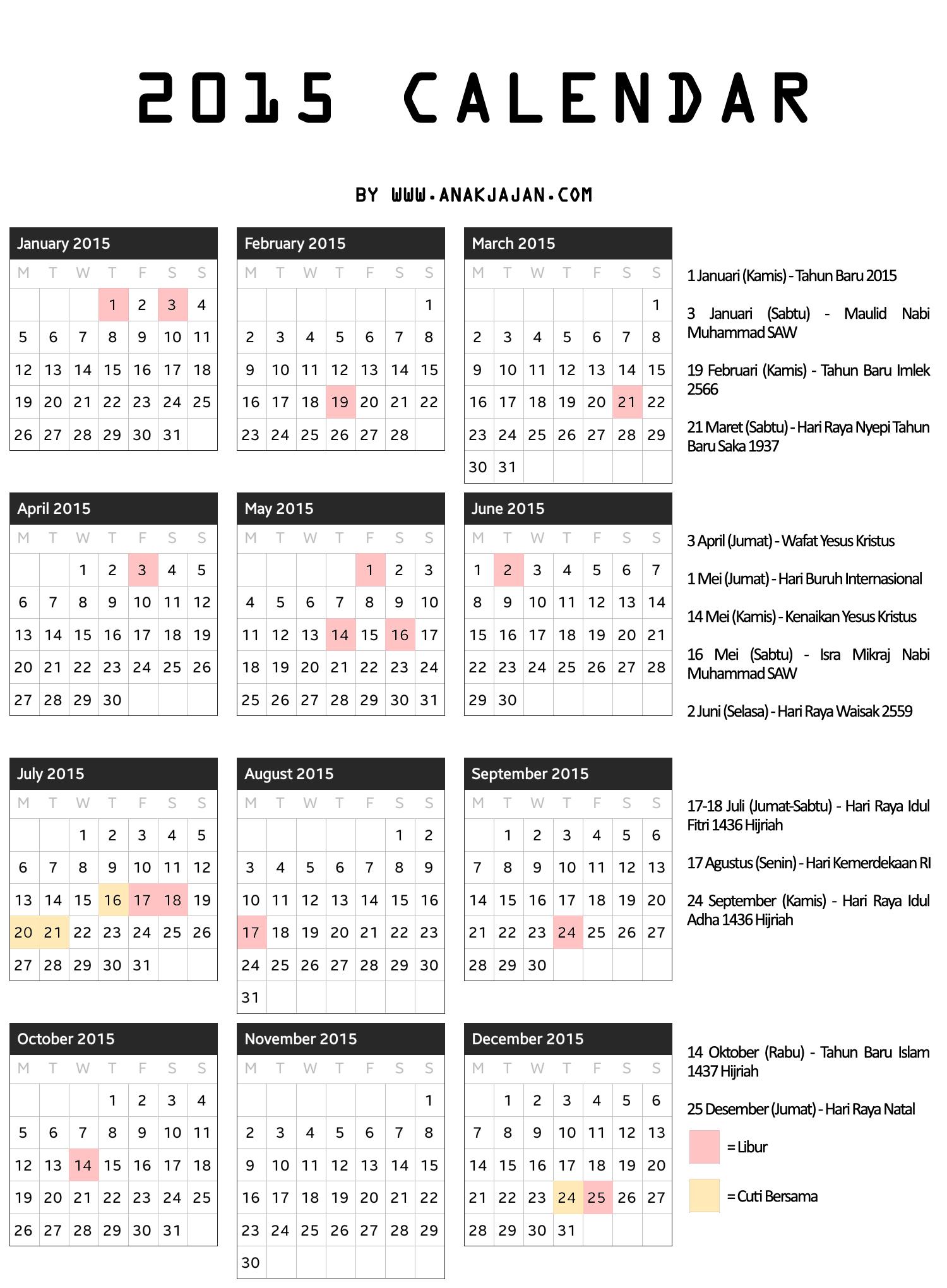 Every Year Calendar Yearly Printable Calendar 2018 Yearly Calendar Download 2015 Calendar Anakjajancom