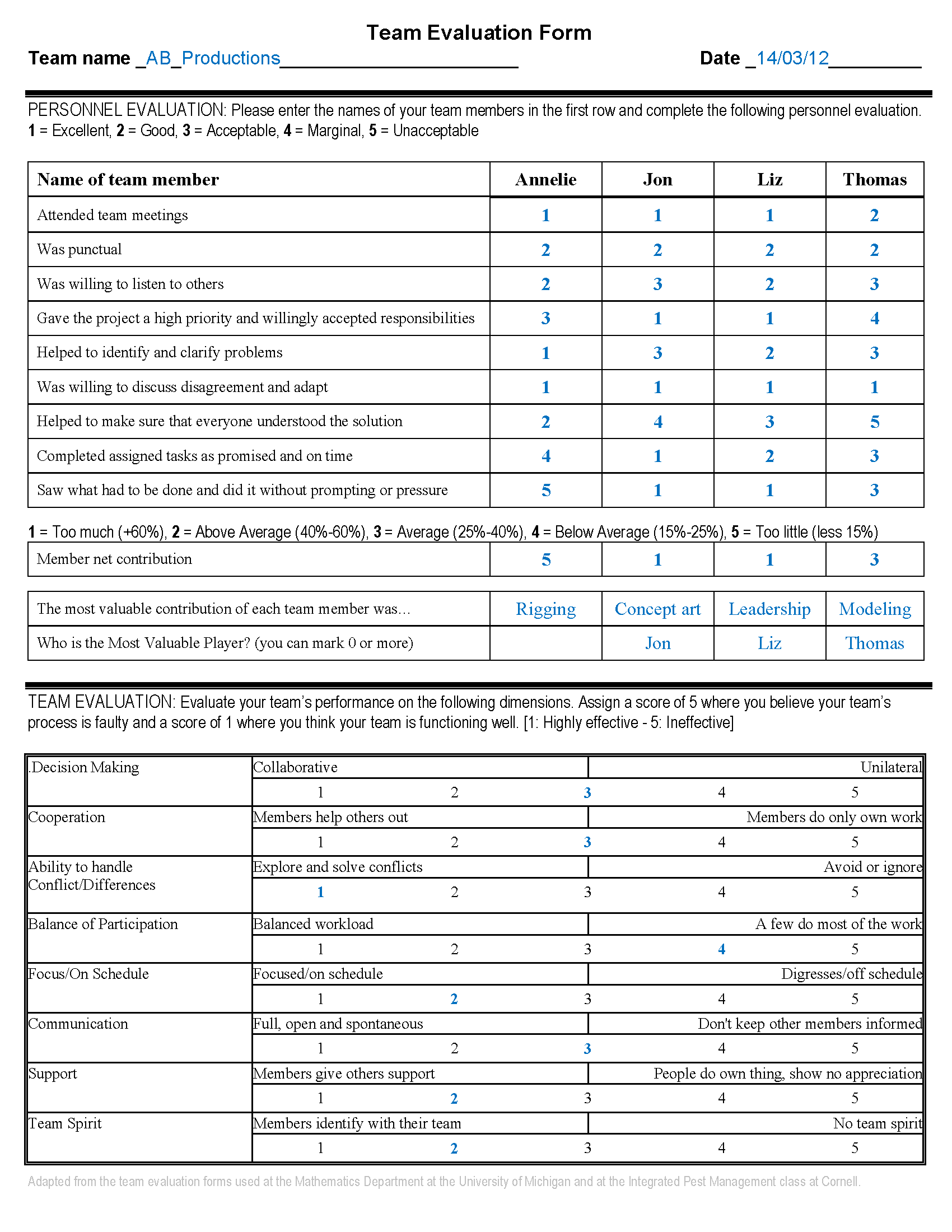 Evaluation form in word