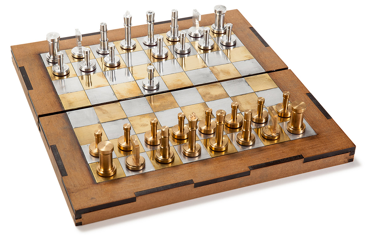 Diy Wood Chess Board Chess Set With Brass And Aluminum Pieces Analog Games