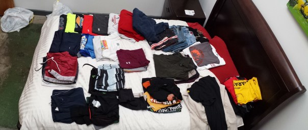 Clothes on bed