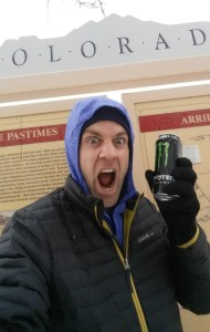 Dave drinking a Monster energy drink