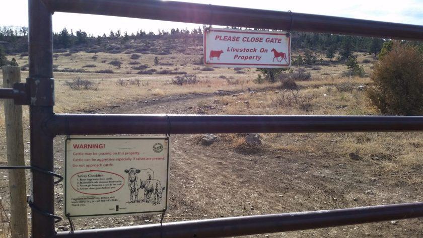 Livestock on Property sign