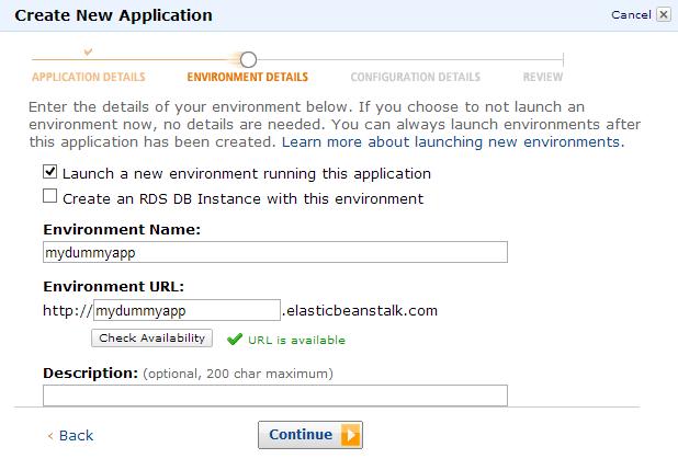 Amazon Elastic Beanstalk - Enter a URL