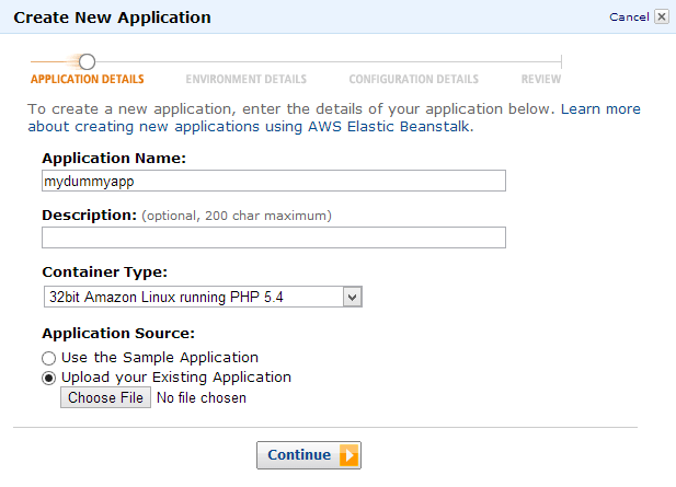 Amazon Elastic Beanstalk - Create new application