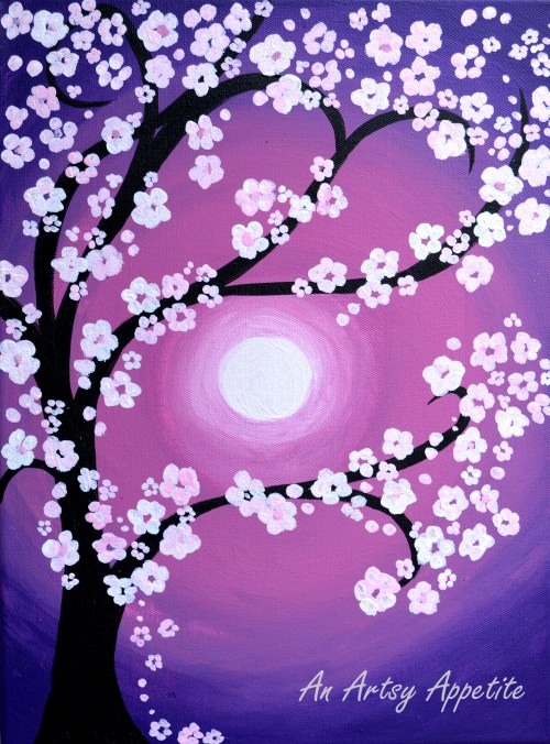 Medium Of Cherry Blossom Painting
