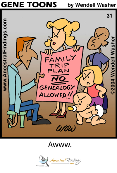 Family Trip Plan: No Genealogy Allowed!! (Genetoons #31)
