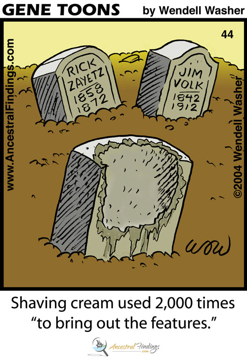 "Shaving cream used 2,000 times, ""to bring out the features"" (Genetoons #44)"