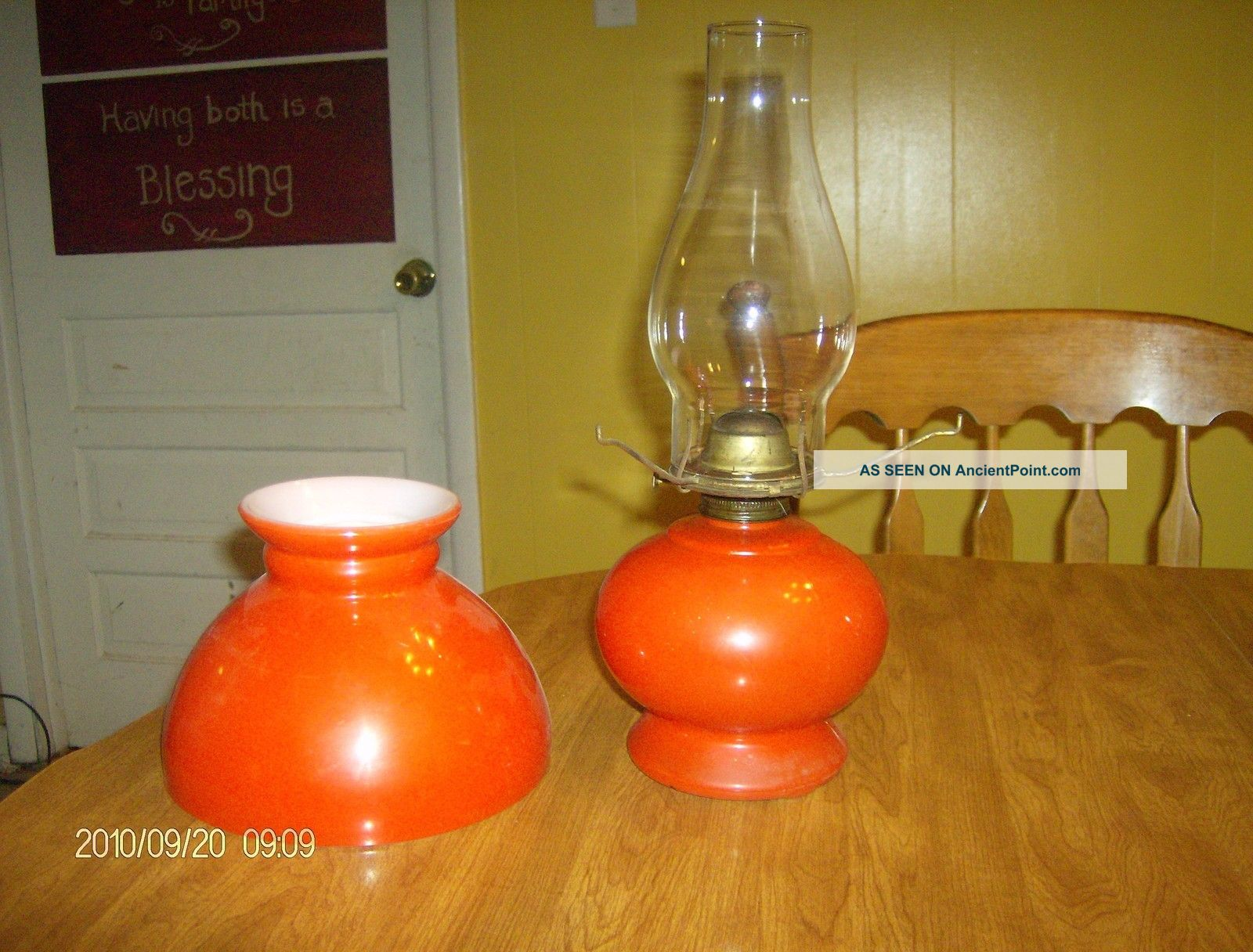 Modern Kerosene Lamp Bright Orange Table Lamp Mid Century Modern Kerosene Lantern