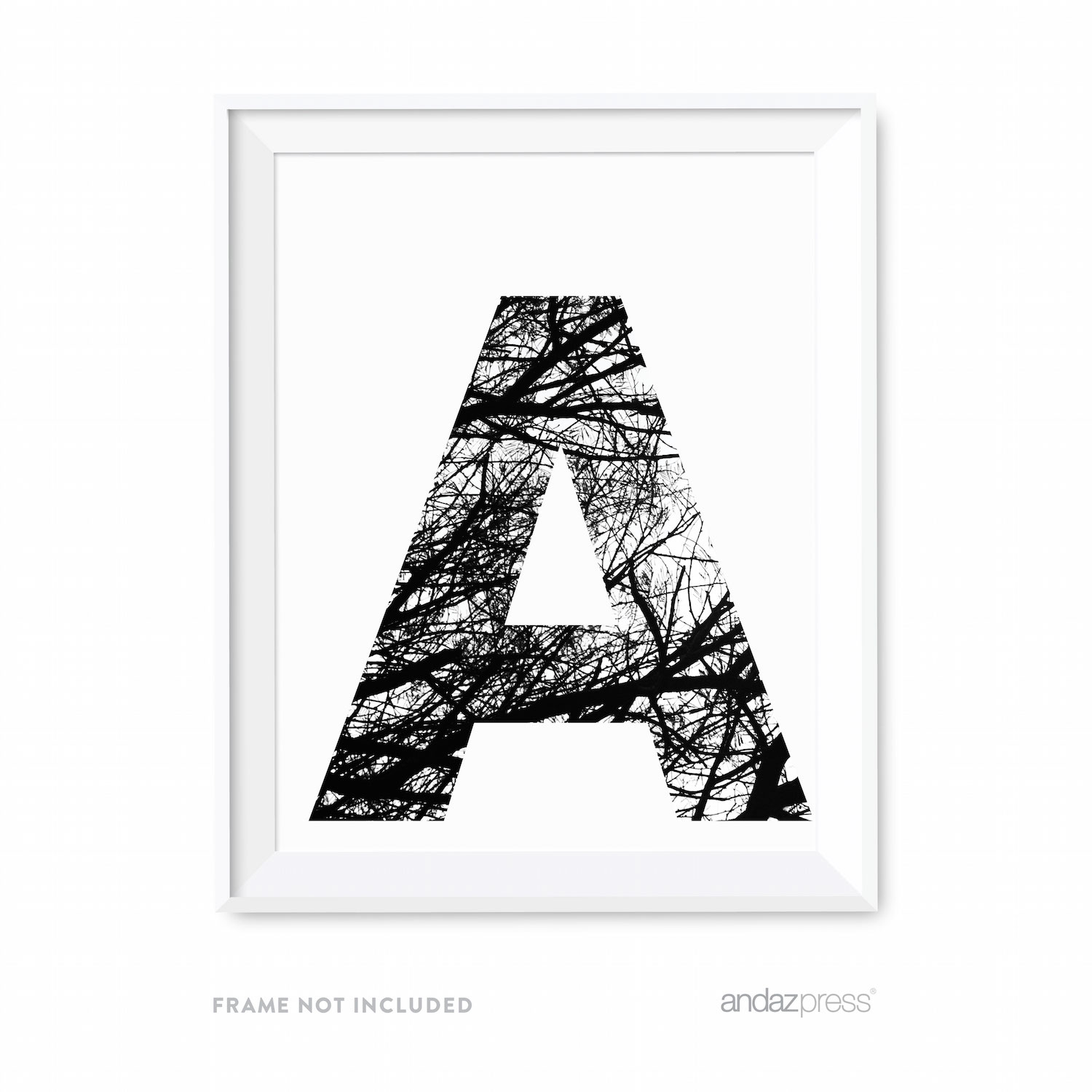 Art Print Black And White Andaz Press Monogram Wall Art Print Poster Black And
