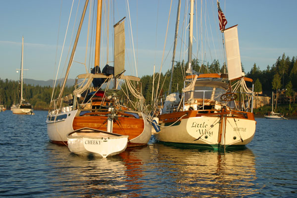 Taleisin & Little Wing anchored at Port Ludlow. (photo by Craig Compton)