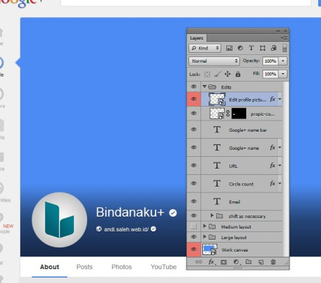 Google Plus Photoshop template with editable layers and full mockup