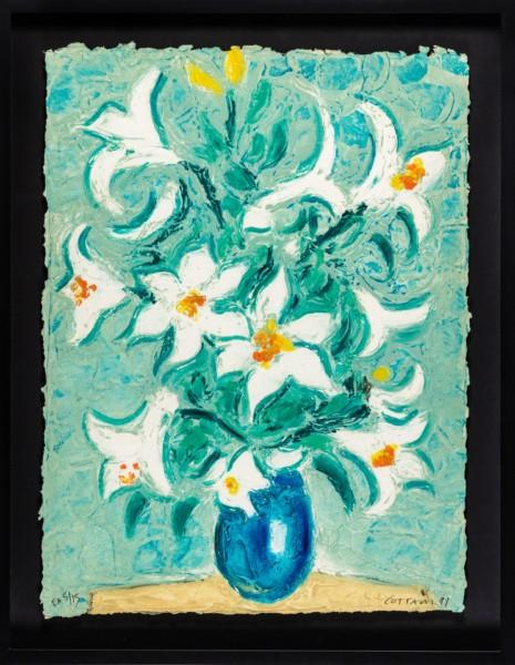 COTTAVOZ-FLEURS BLANCHES POT BLEU-litho relief-75,3X56,5