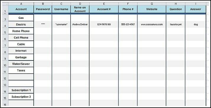 Free Printable Password Worksheet - Andrea Dekker - password manager spreadsheet template
