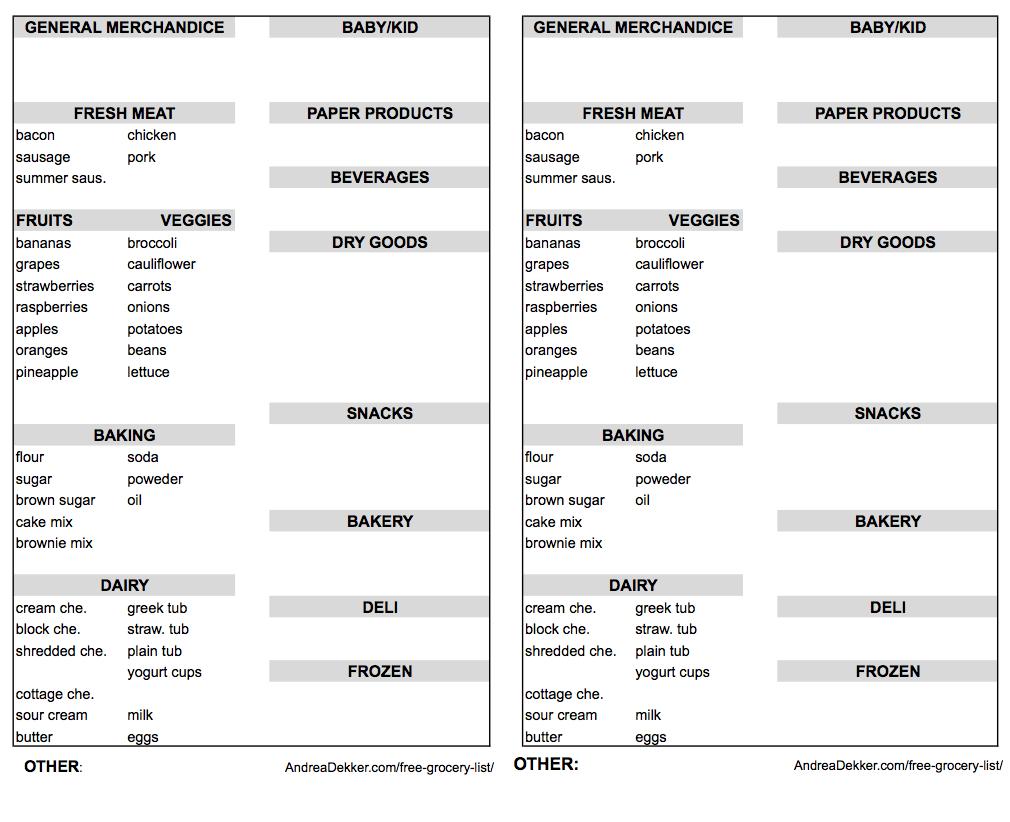 My Free Grocery List Printable - Andrea Dekker