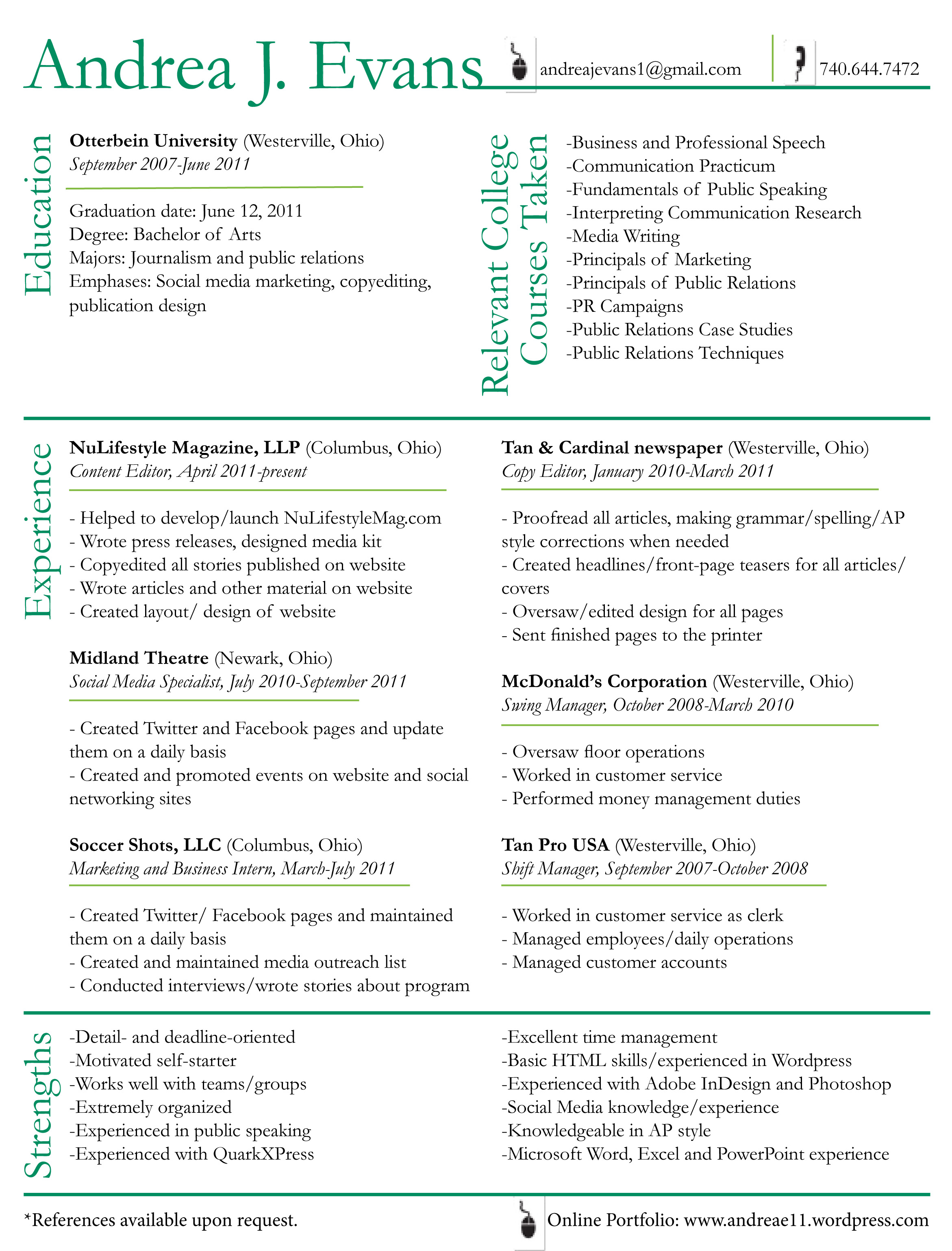 Sample Resumes Sample Resume Writing Example Free R233;sum233; Andrea Evans The World Of An Aspiring Professional