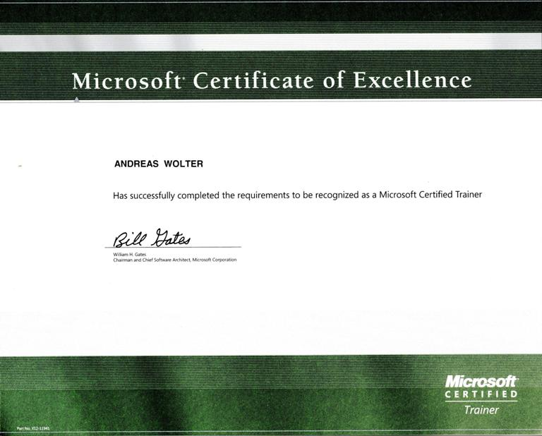 Certifications \u2013 Andreas Wolter - microsoft certificate of excellence