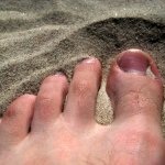 My foot in the sand.