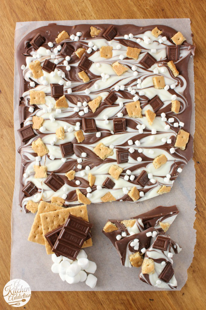 Triple Chocolate S'mores Bark: Recipe from A Kitchen Addiction