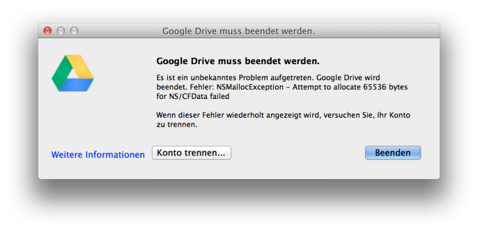 Google Drive Crash NSMallocException