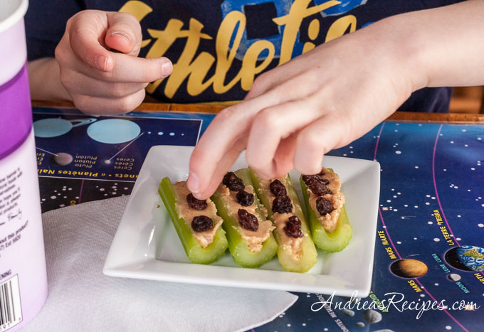 Andrea Meyers - Homemade Peanut butter on celery sticks with raisins