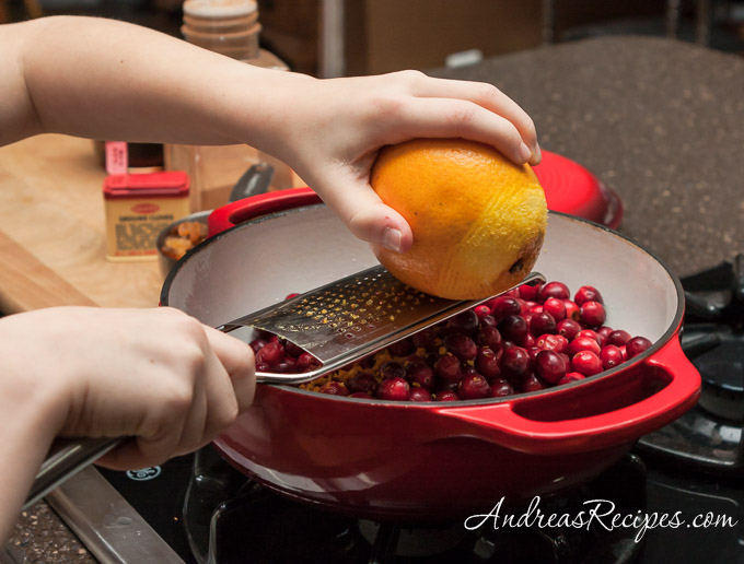 Andrea Meyers - Zesting an orange for cranberry sauce.