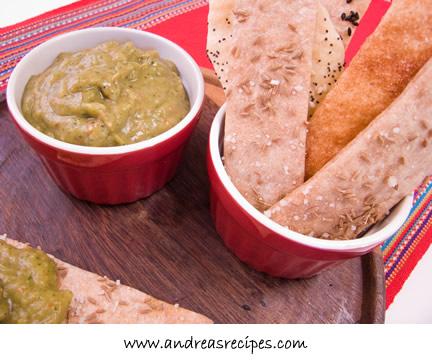 Andrea's Recipes - lavash with roasted tomatillo jalapeno and avocado salsa