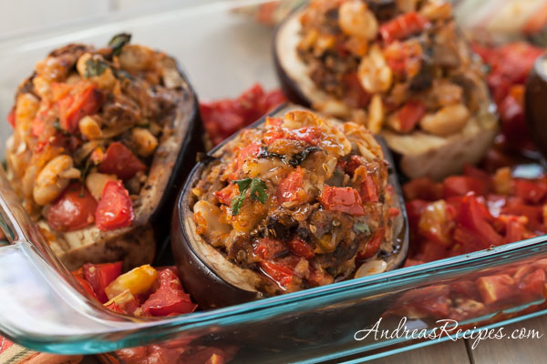 Grilled Stuffed Eggplant - Andrea Meyers