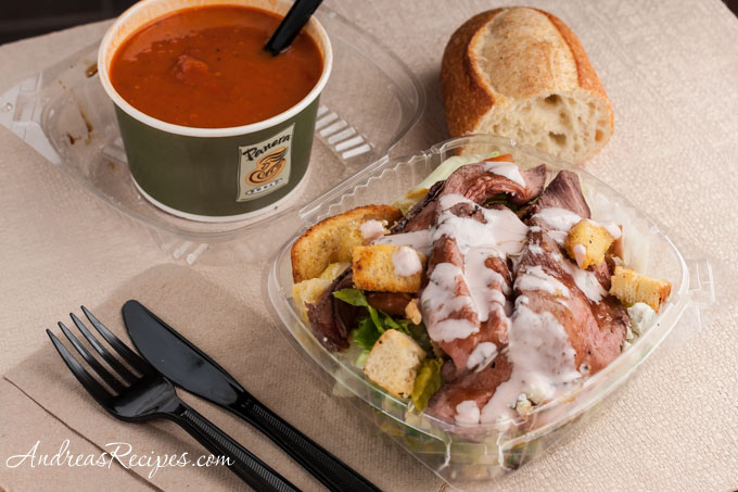 Andrea Meyers - Panera Steak and Blue Cheese Salad, Vegetarian Creamy Tomato Soup, baguette