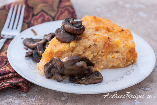 Andrea Meyers - Roasted Butternut Squash Polenta with Smoked Gouda and Sautéed Mushrooms