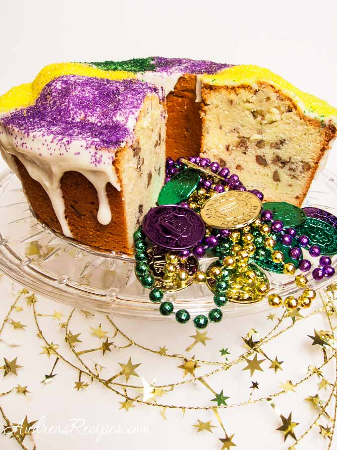 Mardi Gras Cream Cheese Pound Cake with Bourbon and Pecans